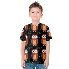 Halloween Brown Owls  Kids  Cotton Tee