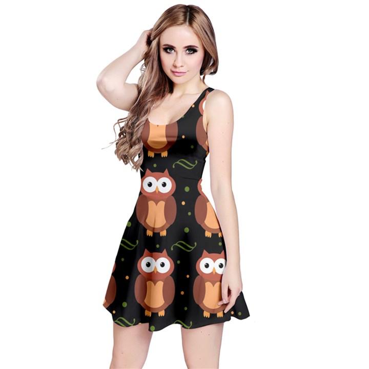 Halloween brown owls  Reversible Sleeveless Dress