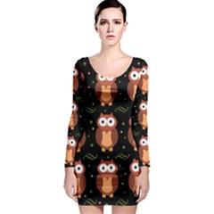Halloween brown owls  Long Sleeve Bodycon Dress