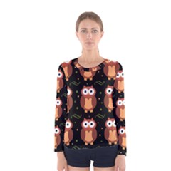 Halloween Brown Owls  Women s Long Sleeve Tee