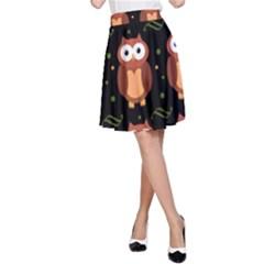 Halloween brown owls  A-Line Skirt
