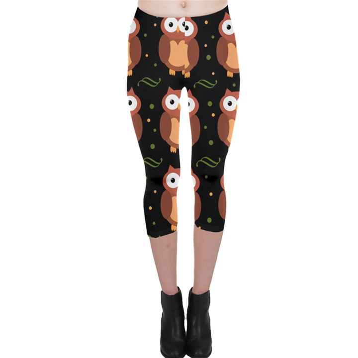 Halloween brown owls  Capri Leggings