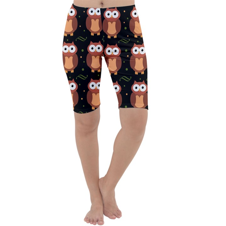 Halloween brown owls  Cropped Leggings