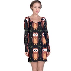 Halloween Brown Owls  Long Sleeve Nightdress