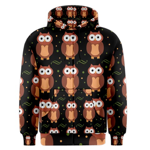 Halloween brown owls  Men s Zipper Hoodie