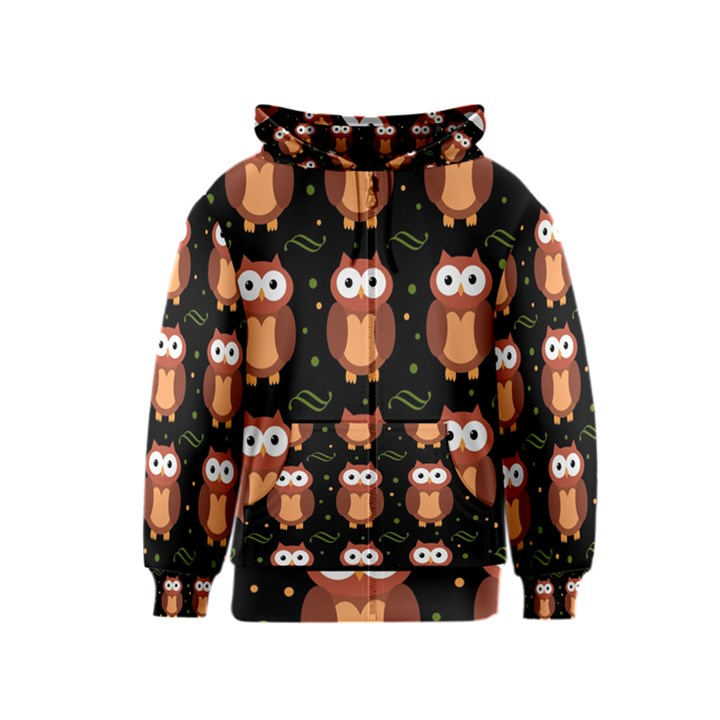 Halloween brown owls  Kids  Zipper Hoodie