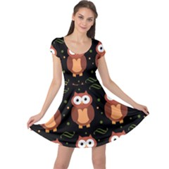Halloween Brown Owls  Cap Sleeve Dresses