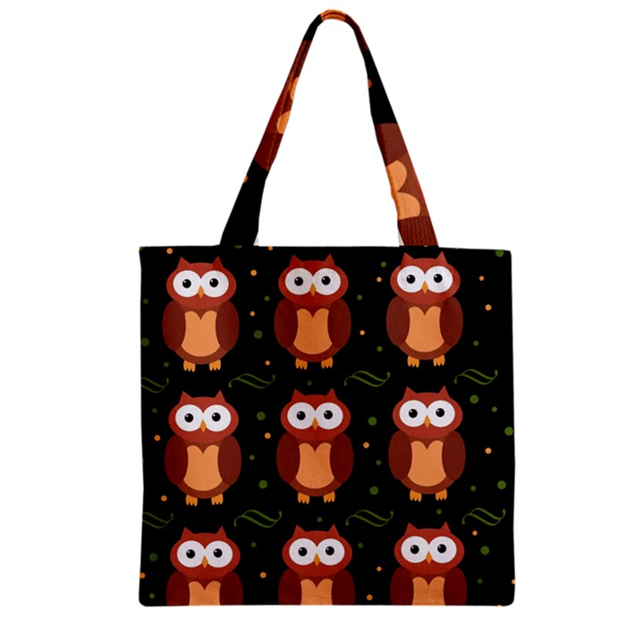Halloween brown owls  Zipper Grocery Tote Bag