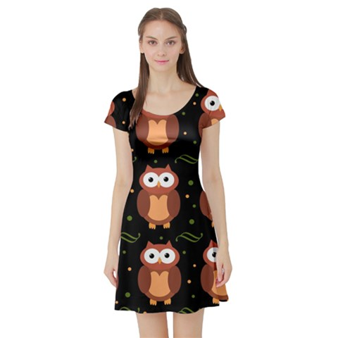 Halloween brown owls  Short Sleeve Skater Dress