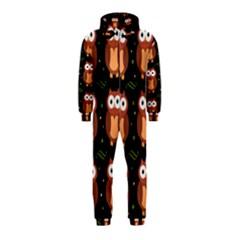 Halloween Brown Owls  Hooded Jumpsuit (kids)