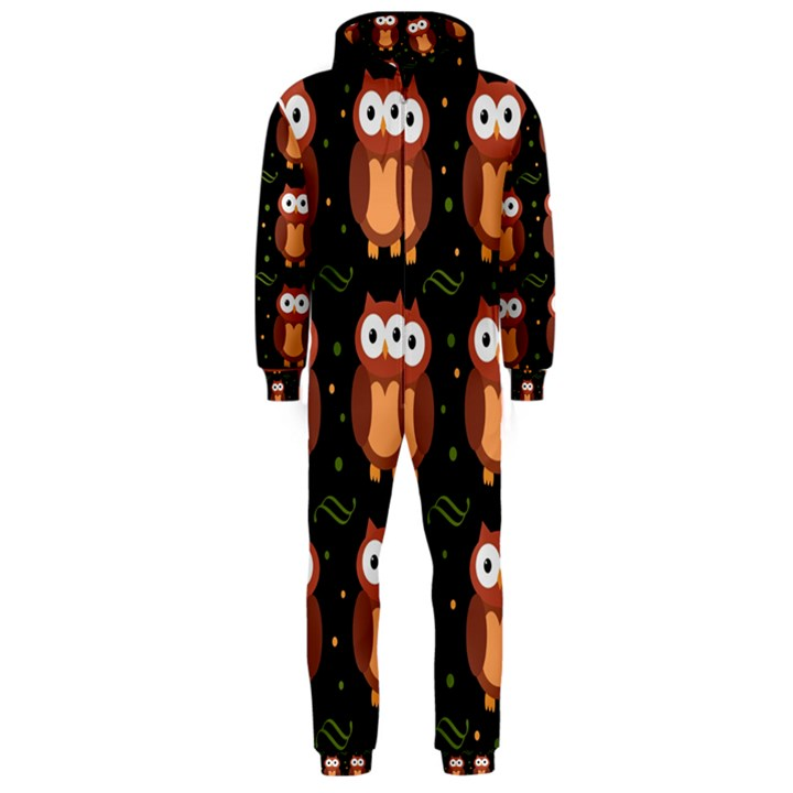 Halloween brown owls  Hooded Jumpsuit (Men)