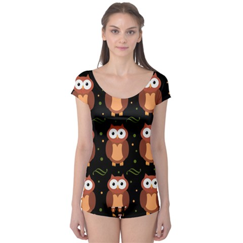 Halloween brown owls  Boyleg Leotard