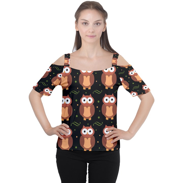 Halloween brown owls  Women s Cutout Shoulder Tee