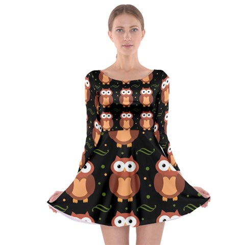 Halloween brown owls  Long Sleeve Skater Dress