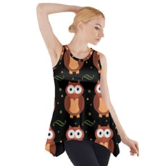 Halloween Brown Owls  Side Drop Tank Tunic