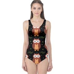 Halloween brown owls  One Piece Swimsuit