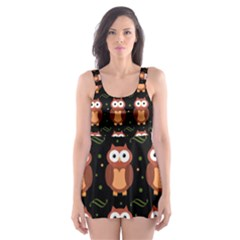 Halloween Brown Owls  Skater Dress Swimsuit