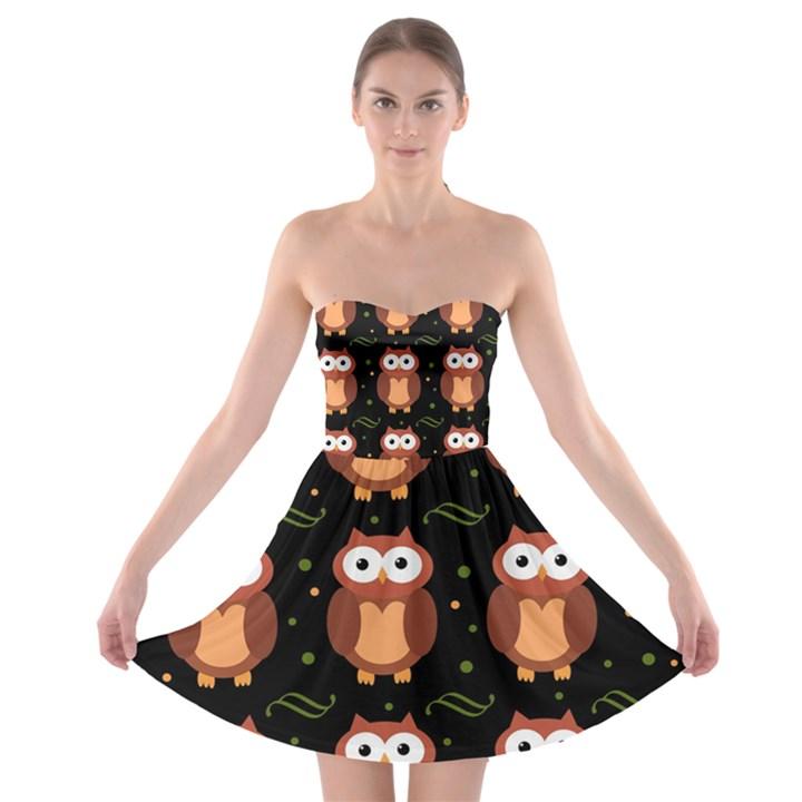 Halloween brown owls  Strapless Bra Top Dress