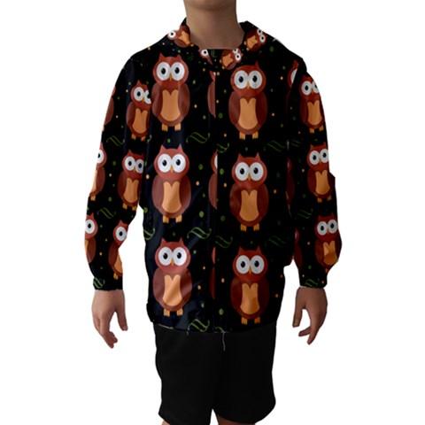 Halloween brown owls  Hooded Wind Breaker (Kids)