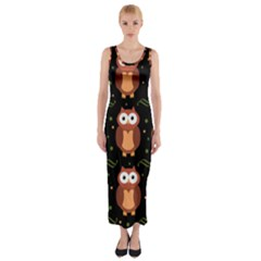 Halloween brown owls  Fitted Maxi Dress