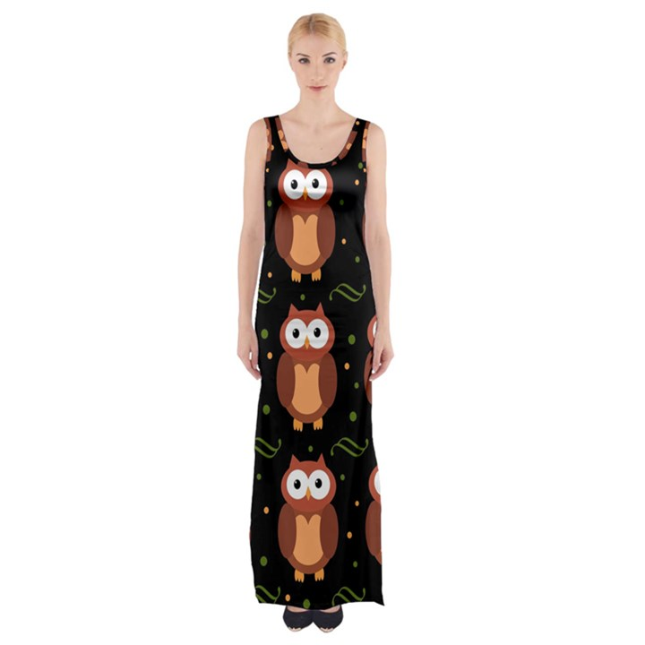 Halloween brown owls  Maxi Thigh Split Dress