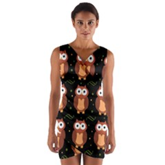 Halloween brown owls  Wrap Front Bodycon Dress