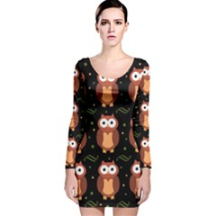 Halloween Brown Owls  Long Sleeve Velvet Bodycon Dress
