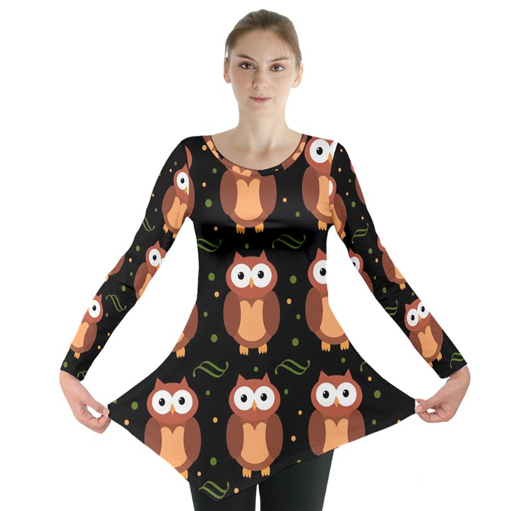 Halloween brown owls  Long Sleeve Tunic