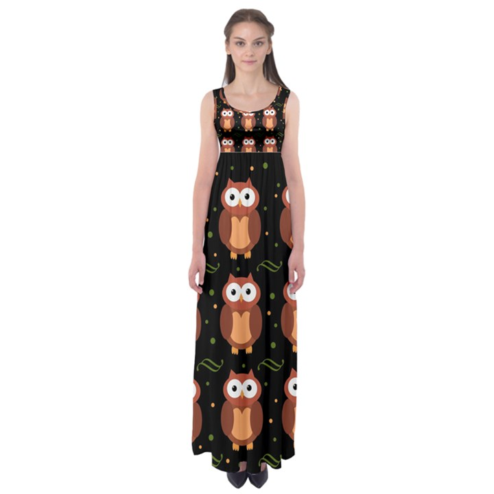 Halloween brown owls  Empire Waist Maxi Dress