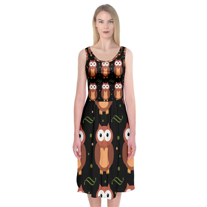 Halloween brown owls  Midi Sleeveless Dress