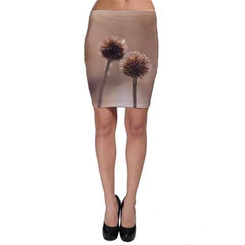 Withered Globe Thistle In Autumn Macro Bodycon Skirt