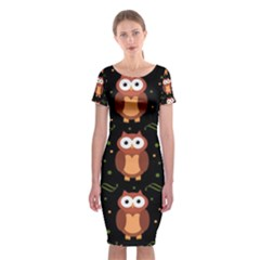 Halloween Brown Owls  Classic Short Sleeve Midi Dress