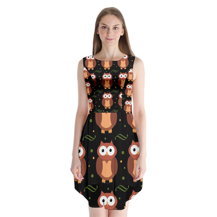 Halloween brown owls  Sleeveless Chiffon Dress