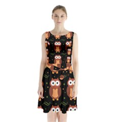 Halloween Brown Owls  Sleeveless Chiffon Waist Tie Dress