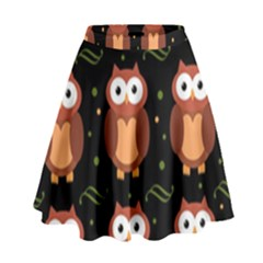 Halloween Brown Owls  High Waist Skirt