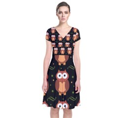 Halloween brown owls  Short Sleeve Front Wrap Dress