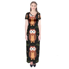 Halloween brown owls  Short Sleeve Maxi Dress