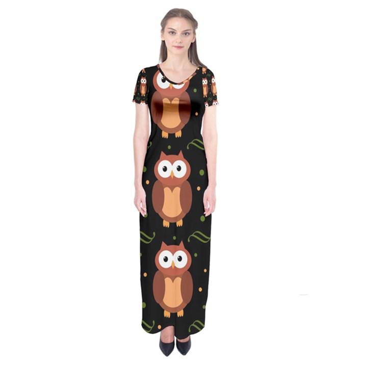 Halloween brown owls  Short Sleeve Maxi Dress