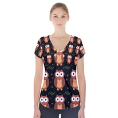 Halloween Brown Owls  Short Sleeve Front Detail Top