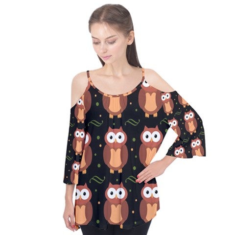 Halloween brown owls  Flutter Tees