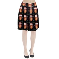 Halloween Brown Owls  Pleated Skirt