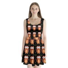 Halloween Brown Owls  Split Back Mini Dress