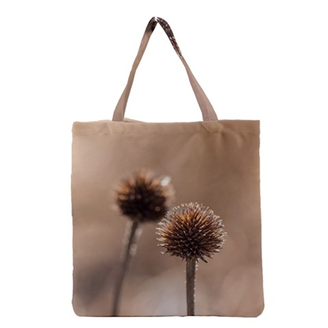 Withered Globe Thistle In Autumn Macro Grocery Tote Bag