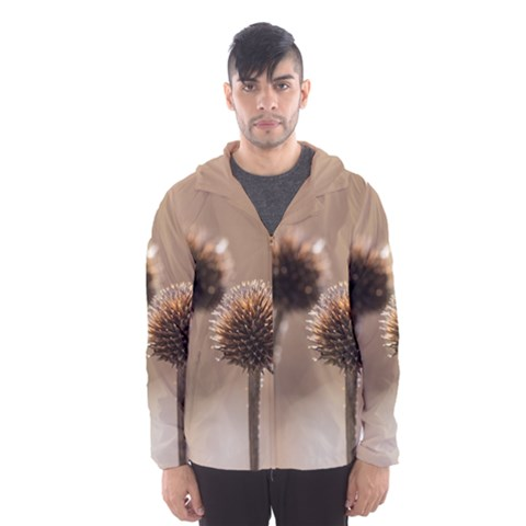 Withered Globe Thistle In Autumn Macro Hooded Wind Breaker (Men)