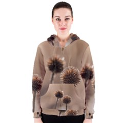 Withered Globe Thistle In Autumn Macro Women s Zipper Hoodie