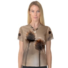 Withered Globe Thistle In Autumn Macro Women s V Neck Sport Mesh Tee
