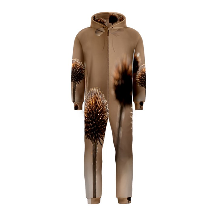 Withered Globe Thistle In Autumn Macro Hooded Jumpsuit (Kids)