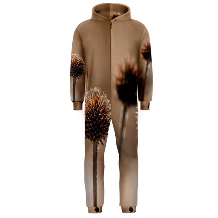 Withered Globe Thistle In Autumn Macro Hooded Jumpsuit (Men)