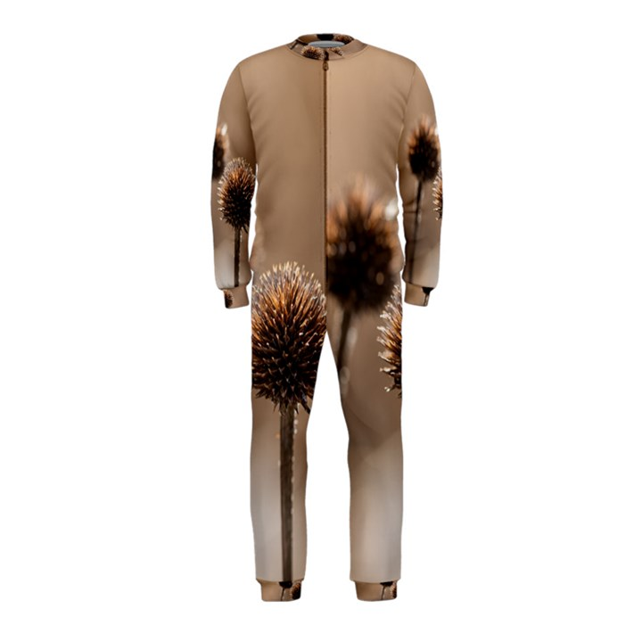 Withered Globe Thistle In Autumn Macro OnePiece Jumpsuit (Kids)