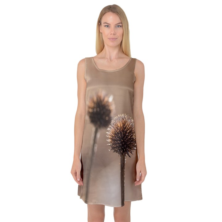 Withered Globe Thistle In Autumn Macro Sleeveless Satin Nightdress